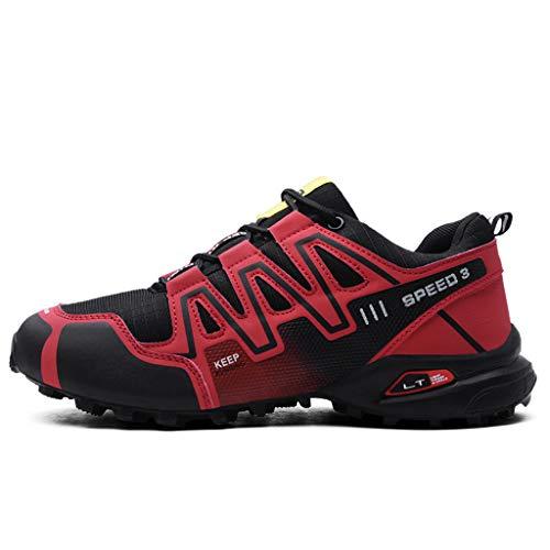 Logobeing Zapatillas de Senderismo Hombre Aire Libre y Deporte Zapatillas de Malla Transpirables Zapatillas de Trabajo Ultraligeras y Antideslizantes Trainers (43, Rojo)