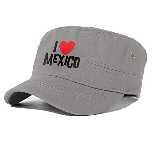 gjhj I Love México - Gorra de algodón con Parte Superior Plana, Unisex, Ajustable, Gris, Talla única