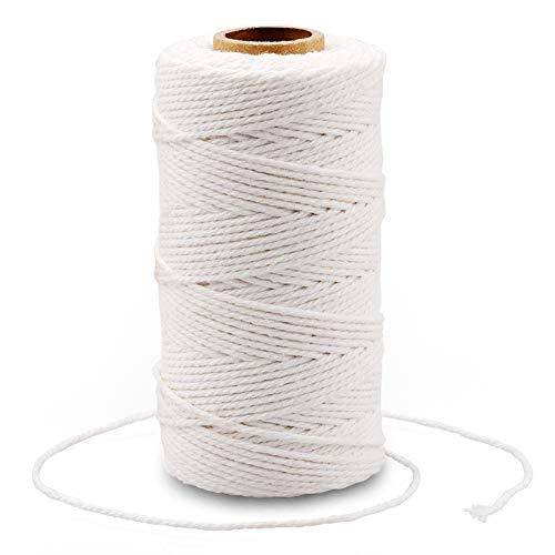 G2PLUS 100M Cuerda de Algodón,Macrame Cuerda de Algodón Hilo Macrame 2mm Cordel de Jardín para Jardinería Envolver Regalos,Hornear Manualidades(Blanco)