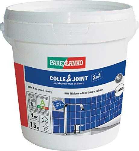 Parexlanko, Colle & Joint 2 en 1, Pâte pour collage de carrelage et réalisation de joints hydrofugés prêt à lemploi pour pièces humides, Blanc, 1,5kg