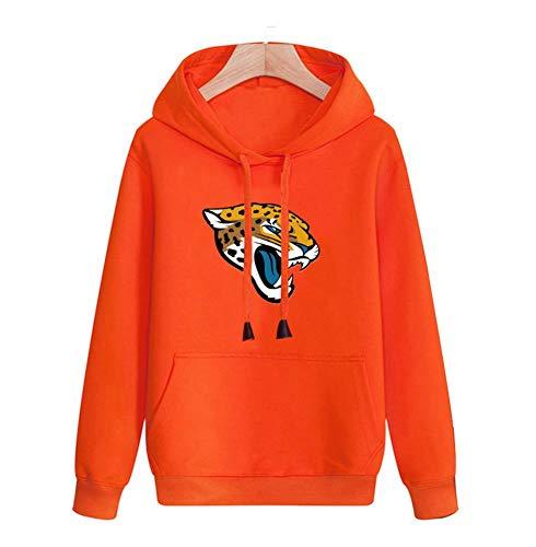 FWHACMT NFL Heren Hoodies Jacksonville Jaguars Jeugd Pullover Hooded Sweatshirt Oranje Casual Logo Fan Effen Gekleurde Lange Mouw Hoodie Blouse Truien Mode Top Tracksuit Unisex tieners