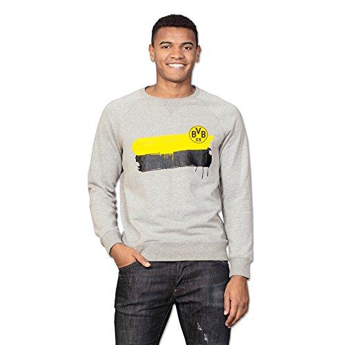 Borussia Dortmund BVB-Sweatshirt, Grau mit Farbstreifen & BVB-Logo auf der Brust, 60% Baumwolle, 40% Polyester, 116-3XL 152