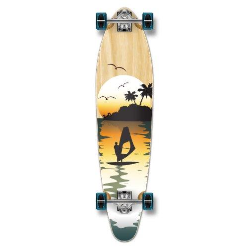 Yocaher Beach Series Complete Kicktail Skateboards Longboard Cruiser Black Widow Premium 80A Grip Tape Aluminum Truck ABEC7 Bearing 70mm Skateboard Wheels (Complete - Kicktail - 10 - Surfer Natural)
