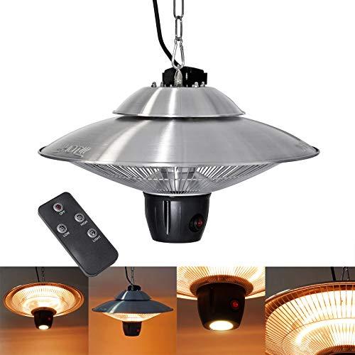 Wiltec Deckenheizstrahler mit 2 Heizstufen 600/1200W, Fernbedienung & LED-Beleuchtung