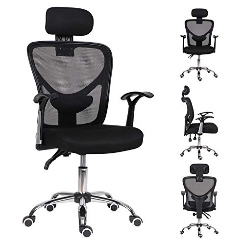 Office Chair for Home,High Back Reclining Desk Chair with Adjustable Headrest Ergonomic Computer Chair with Back Support Executive Swivel Home Work Chair,Home/Office Furniture,Black