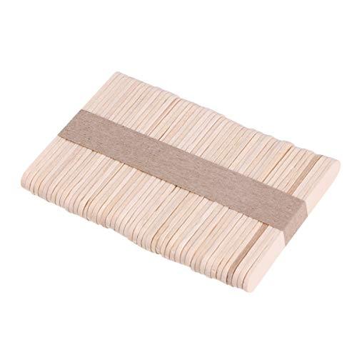 Supvox 50 Stücke Holzstäbchen Holz Eisstiele Popsicle Sticks Holzspatel Holzstiele zum Basteln für Eiscreme Kinder DIY Handwerk