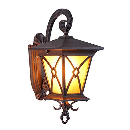 FMOGE Lámparas De Pared Led para Exteriores Linterna De Pared Exterior De Bronce, Aplique Impermeable para Porche, Montaje En Pared con Pantalla De Vidrio Martillado para Casa (43 Cm, 46 Cm)