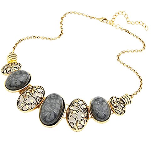 YAZILIND Ethnic Style Gold Plated Black Oval Stone Bib Statement Necklace Women