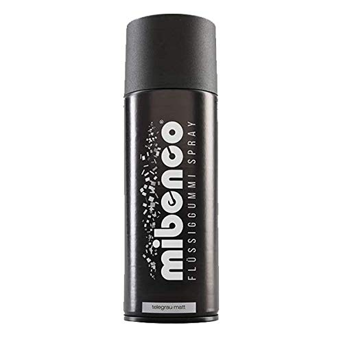 mibenco 71427047 Flüssiggummi Spray / Sprühfolie, Telegrau Matt, 400 ml - Neue Farbe und Schutz für Oberflächen und zum Felgen lackieren