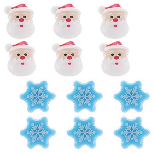 ibasenice 12Pcs Christmas Light up Rings Copo de Nieve de Navidad Anillos de Santa Claus Anillos de Dedo Que Brillan Intensamente Juguetes Niños Recompensas