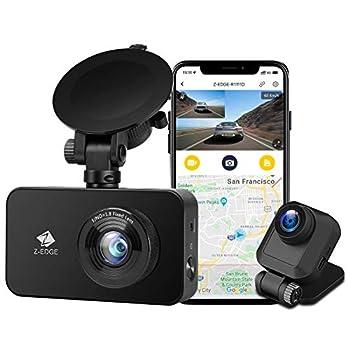 Z-Edge WiFi Dash Cam 1920x1080P FHD Front and Rear Dash Cam Dual Cam Car DVR Night Vision Parking Mode G-Sensor Loop Recording