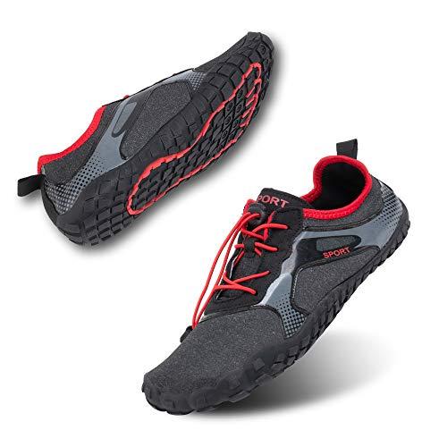 Zapatillas de Running Trekking Agua Hombre Descalzo Escarpines Zapatos de Deportivas Mujer Verano Calzado de Playa Buceo Snorkel Surf Cordones Duradera H-Negro EU43