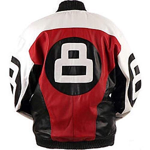 Mens 8 Ball Logo Bomber Jacket - 90's 8 Ball Multicolor Letterman Leather Jacket