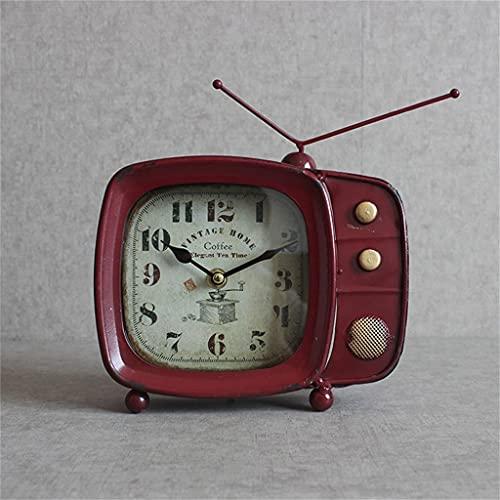 KLHDGFD Reloj de mesa de TV Vintage de hierro forjado, sala de estar, bar, cafetería, reloj de escritorio, decoración del hogar, reloj de mesa americano, Retro (Color : A, Size : One size)