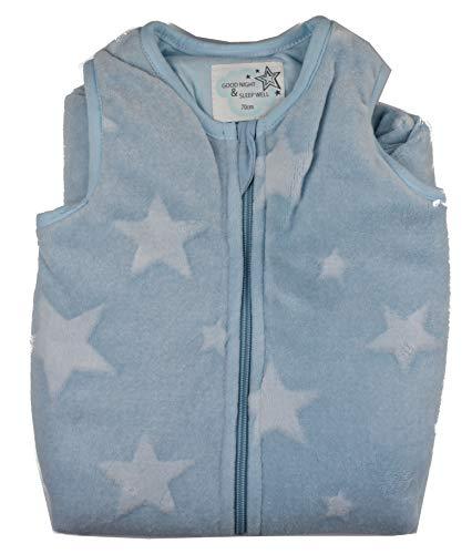 Baby Schlafsack Jungen 70 cm aus weichem Plüsch u. wattiert Baumwolle Blau Grau (Hellblau Sterne)