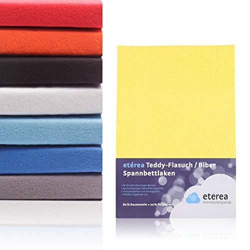 Etérea Kinder Teddy Flausch Spannbettlaken, Mikrofaser Baumwolle Spannbetttuch Gelb, 60x120-70x140 cm