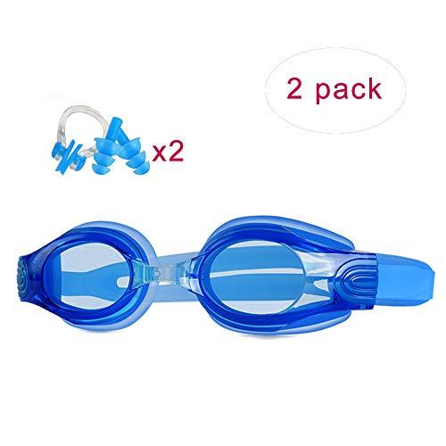 XIAOHE zwembril, set van 2, anti-fog, waterdicht en UV-bestendig high-definition groot frame zwembril, geschikt voor kinderen en volwassenen ouder dan 12 jaar