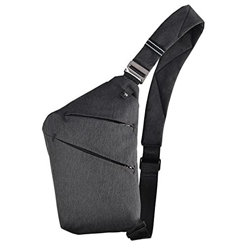 Multi-Pocket Umhängetaschen, Sling Crossbody Bag, Schultertasche Anti-Diebstahl Brusttasche für Herren (Schwarz)