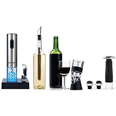 Secura Elite Wine Lovers Gift Set | 12-Piece Wine Accessories Set | Electric Wine Opener, Wine Foil Cutter, Wine Aerator, Wine Saver Vacuum Pump + 2 Wine Stoppers
