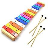 CeleMoon 15 Tone Natural Wooden Toddler Xylophone Glockenspiel for Kids with Multi-Colored Metal Bars Included Two Sets of Child-Safe Wooden Mallets