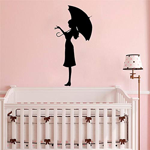 Ajcwhml Wall vinyl decals with umbrellas for girls romantic decoration stickers for girls room modern abstract home art decals - 21X45CM