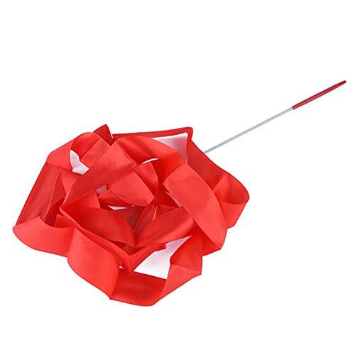 Onsinic Danza Nastri Filanti Ginnastica Ritmica del Nastro Bacchette Nastri Artistico di Dancing Sticks (Rosso)