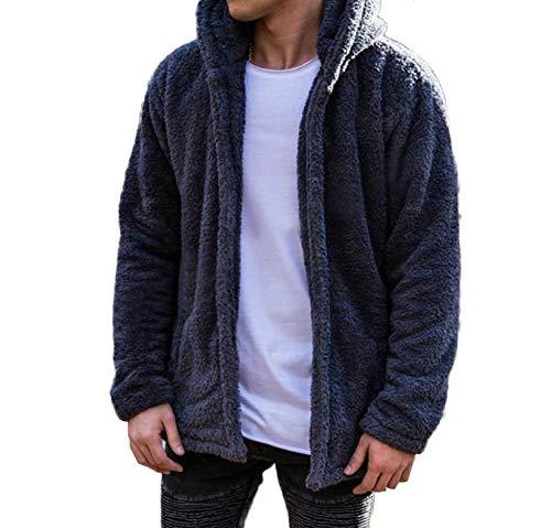 Men's Fuzzy Sherpa Fleece Shawl Collar Cardigan Hoodie Coats Winter Lightweight Jackets (US Size L, Blue)