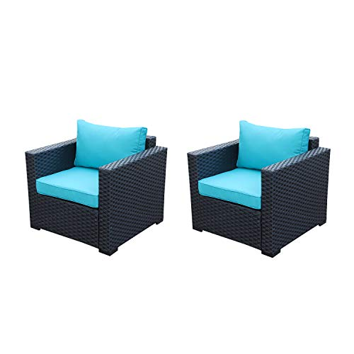Patio Rattan Wicker Single Chair-Outdoor Armchair Sofa Furniture with Thick Turquoise Cushion,Steel Frame,Set of 2