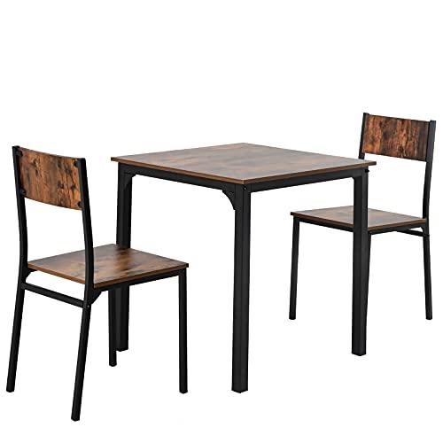 Esszimmergruppe mit Esstisch und 2 Essstühlen, für Esszimmer Küche Wohnzimmer, Vintagebraun