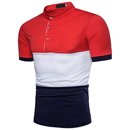 Mr.BaoLong&Miss.GO Maglietta Polo da Uomo A Colori Contrastanti Maglietta Polo da Uomo A Maniche Corte in Stile Tricolore con Design A Tre Colori