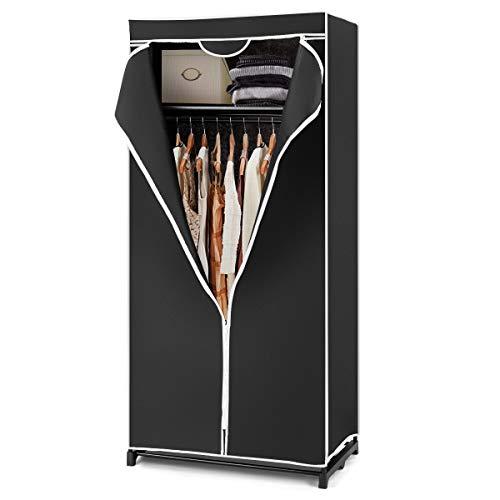 GIANTEX-Armario de Tela con Estructura de Metal, Armario con Cremallera,Perchero con Tapa,74 x 50 x 172 cm, Negro