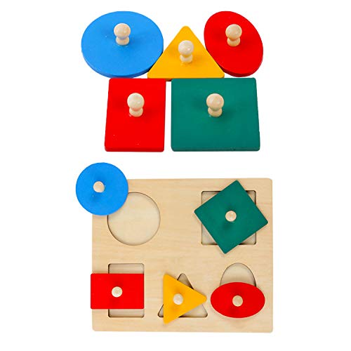 Montessori Multiple Shapes Wooden Puzzles Toys Baby First Wood Knob Educational Basic Geometry Shape Puzzle Preschool Learning Sensorial Gift Toy for 1 2 3 Year Old Toddler Shape & Color Sorter