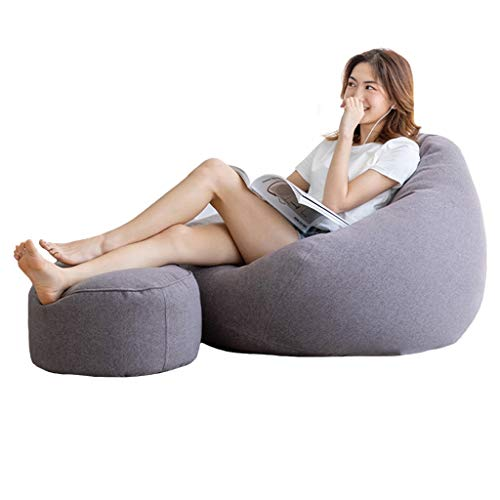 Bean Bag Chair, Cotton and Linen Fabric Filled with EPP Particles, Fits The Body, Home Leisure Sofa Cushion, Living Room and Bedroom Sofa, 90x110cm, 9 Colors (Color : Gray-1)