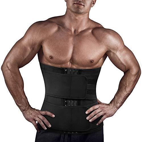 Pneacimi Mens Neoprene Cincher Waist Trainer Trimmer Sauna Belt Belly Slimming Band Workout Sweat Wrap for Weight Loss (Black Waist Trimmer, L)