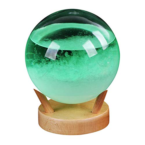 laoonl Bola de cristal, bola de cristal atrapasoles, predictor de la tempestad con base de madera, barómetro decorativo con luz LED, adorno de escritorio, para decoración de bodas, hogares/oficinas