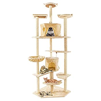 OYISIYI 80 Inches Multi-Level Cat Tree Furniture Kittens Activity Tower with Scratching Posts Kitty Pet Play House Cat Tower for Indoor Cats,Beige