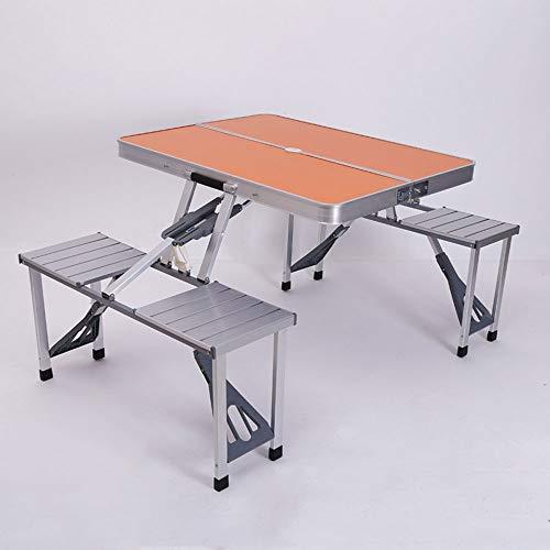 Mesa de picnic y silla plegables de mesa de picnic y silla, mesa de picnic portátil plegable de aleación de aluminio, adecuado para piezas de barbacoa al aire libre Pesca de Pesca Mesa de picnic