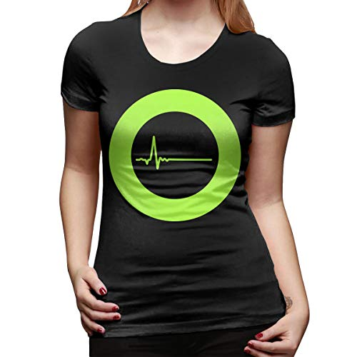 YvonneMPacheco Type O-Negative Women's Short Sleeve T Shirt Tees Sport Summer(Large,Black)