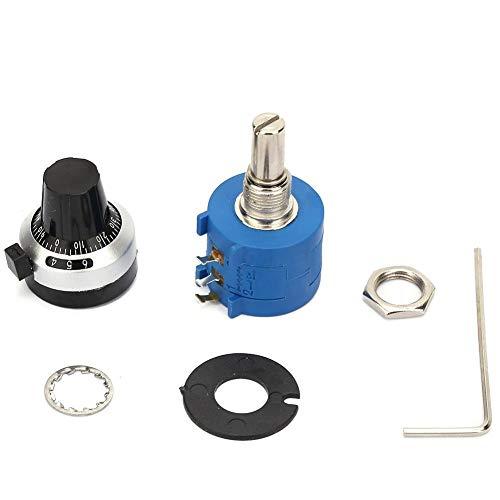 Potenciómetros-3590S-2-104L Potenciómetro bobinado 100K Ohm con Perilla de dial de conteo de 10 Vueltas