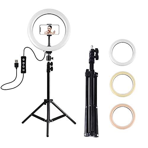 3T6B 10'' LED Anillo de luz con Trípode Metal de Escritorio y Trípode Largo Soporte Teléfono, luz de 3 Modo y 10 Brillo para Transmisión en Vivo/Youtube Video/Tiktok/Maquillaje