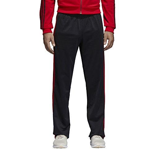 adidas Men's Athletics Essential Tricot 3-Stripe Pants, Black/Scarlet, Large