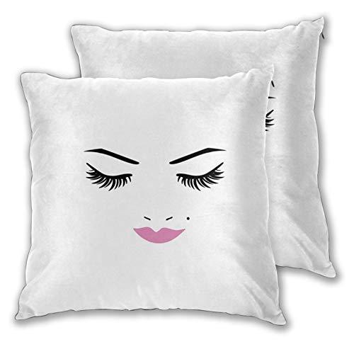 NUXIANY Juego 2 Fundas Cojines Hogar Ojos Cerrados Lápiz Labial Rosa Maquillaje Glamour Cosméticos Belleza Diseño Femenino Decorativa Almohadas Fundas de para Sala de Estar sofás 65x65cm