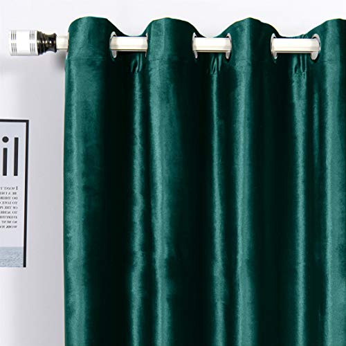 MYRU 1 Pair Velvet Curtains Eyelet Blackout Curtains for Bedroom and Living Room (Teal, 2 x 66x84 Inch)