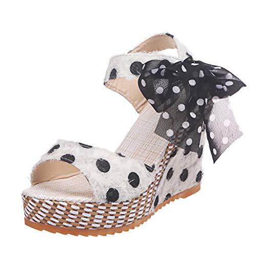WINJIN Sandales Compensees Femme Sandales Talons Vintage Chaussures Imprimé à Pois Sandales Plateforme Salomé Talons Haut Chaussures en Paille Boho Sandales Bout Ouvert Femme