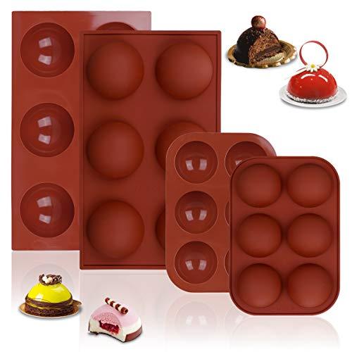 Stampi in Silicone per Pallina di Cioccolato, Stampi in Silicone per Cioccolatini Bombe di Cioccolato Caldo Mezza Sfera 6 Cavità per Gelatina Caramelle Cupola Mousse Budino (2 Grande +2 Piccolo)