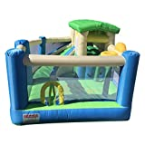 SAG Collection Inflatable Bouncy Slide Bounce House 6 in 1 with Slide Basket Hoop Climbing Wall Tunnel with 750W Blower