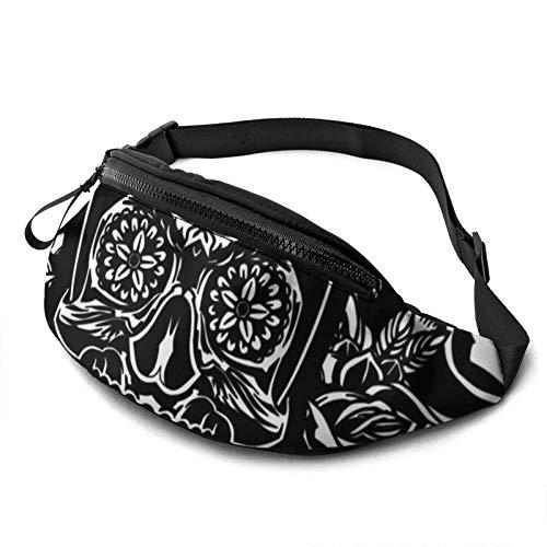 Sugar Sku-lls Black Floral Flowers Waist Pack/Fanny Pack/Travel Bag for Men Women Outdoors Sports Marathon Hiking