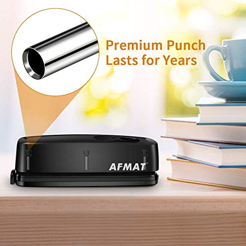 3 Hole Punch, AFMAT Electric Three Hole Punch Heavy Duty, 20-Sheet Punch Capacity, AC or Battery Operated Paper Punch, Effortless Punching, Long Lasting Paper Puncher for Office School Studio, Black Photo #4