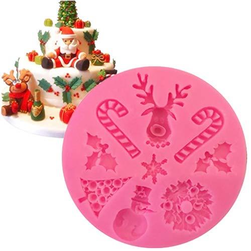 Romantic Weihnachten Thema 3D Weihnachtsbaum/Schneemann/Elch Silikon Backform, Fondant Kuchen Formen, Silikonform für Schokolade Gelee, Süßigkeiten Schimmel, Cupcake DIY Backen Dekoration Werkzeug