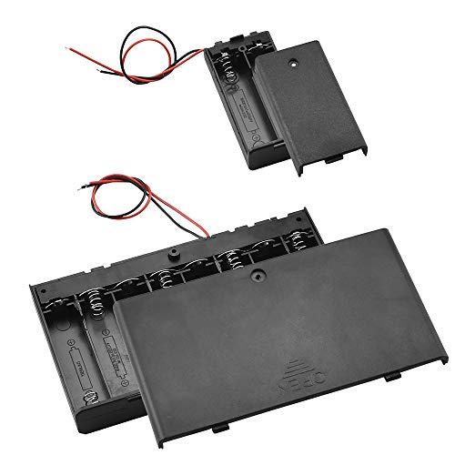 TANCUDER 1 PCS Caja de Almacenamiento de Batería de 8 Ranuras y 4 PCS Batería Titular de 2 Ranuras Caja de Pilas de Plástico 1.5V AA Portapilas con Cables de Conector y Tapas para Almacenar Baterías